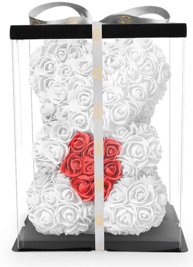 Kunstblume »Rosenbär mit Geschenkbox versch. Farben mit Herz - Geschenk für Freundin Jahrestag Geburtstag Hochzeit Geburtstagsgeschenk Freundin 25 cm« Ewige Rosen, NADIR