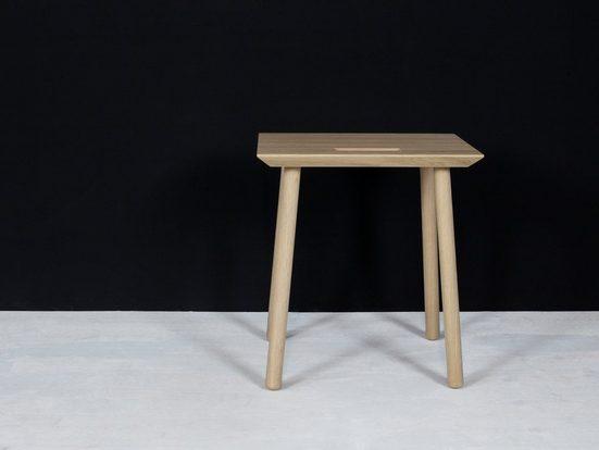 kommod Hocker »KNOQDI«, Sitzhocker, Blumenhocker, Designhocker, Beistelltisch klein – 45 x 40 x 30 cm – Eiche massiv natur