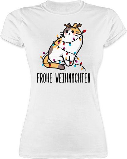 Shirtracer T-Shirt »Frohe Weihnachten - Katze Girlande - Weihnachten & Silvester - Damen Premium T-Shirt«