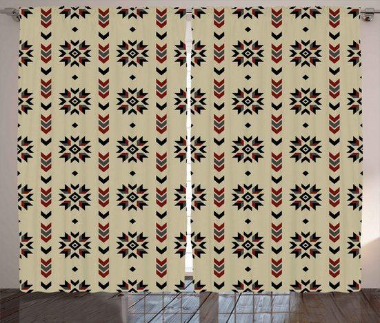 Gardine »Schlafzimmer Kräuselband Vorhang mit Schlaufen und Haken«, Abakuhaus, Ethnisch Chevron-Design
