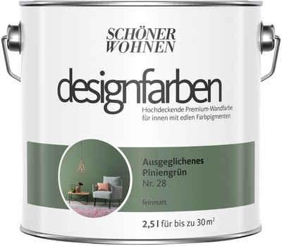 SCHÖNER WOHNEN-Kollektion Wand- und Deckenfarbe »Designfarben«, ausgeglichenes Piniengrün Nr. 28, feinmatt 2,5 l