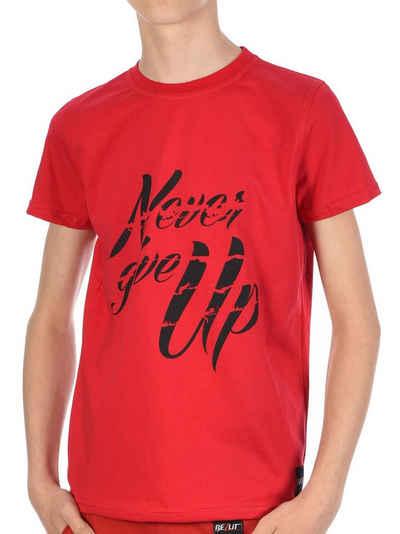 BEZLIT T-Shirt »Jungen T-Shirt mit Never Give Up« (1-tlg) casual, mit Schriftzug