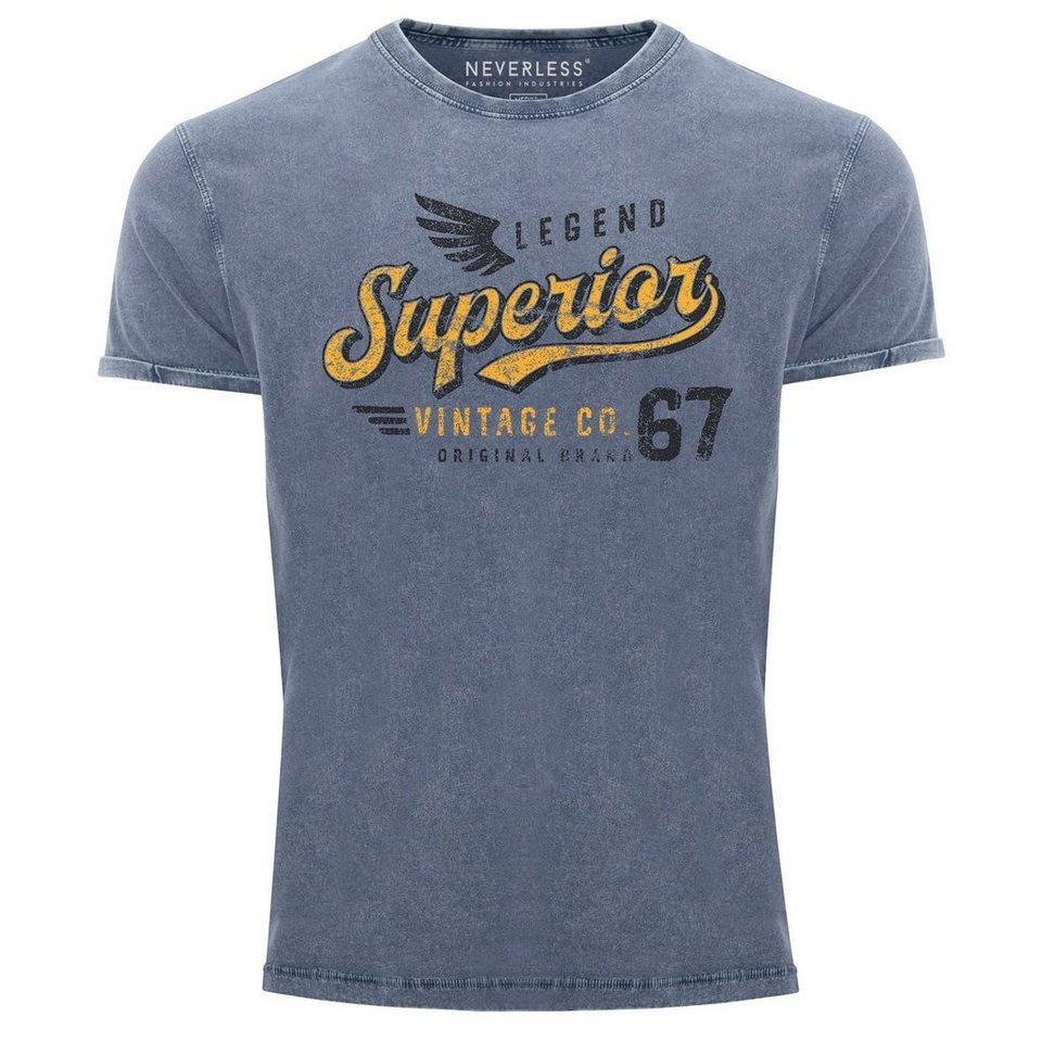 Neverless Print Shirt »Herren Vintage Shirt Retro Motiv Schriftzug Superior  Legend Flügel Printshirt T Shirt Aufdruck Used Look Slim Fit Neverless®« ...