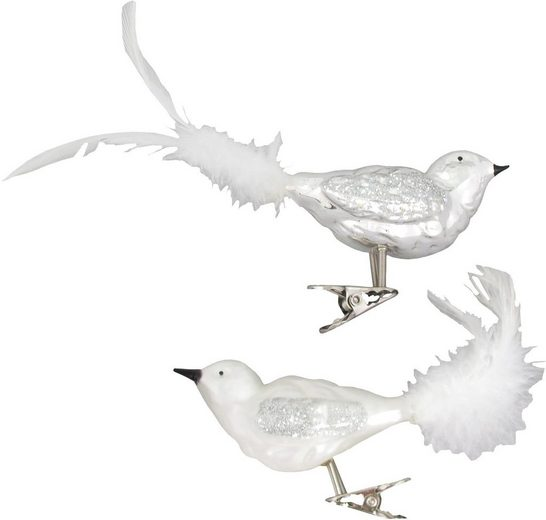 Krebs Glas Lauscha Weihnachtsbaumklammer »CBK81925« (2-tlg), Vogelsortiment