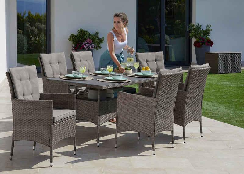 KONIFERA Gartenmöbelset »Mailand«, (19-tlg), 6 Sessel, Tisch 150x80 cm, Polyrattan