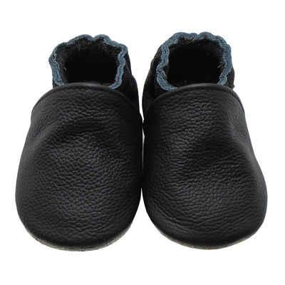Yalion »Weiche Leder Lauflernschuhe Hausschuhe Lederpuschen Schwarz 100% Leder« Krabbelschuh