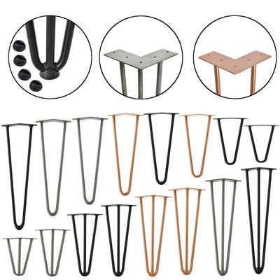 en.casa Untergestell, 4x Tischbeine »Makers« - Hairpin Legs für DIY Couchtisch, Beistelltisch - 3 Streben - 15cm - kupferfarben