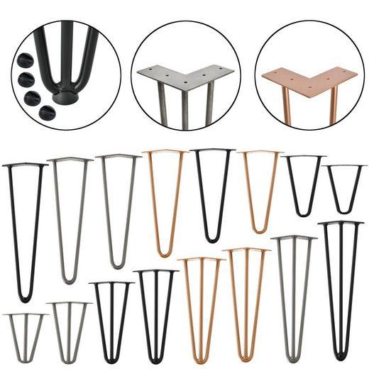 en.casa Untergestell, 4x Tischbeine »Makers« - Hairpin Legs für DIY Couchtisch, Beistelltisch, Konsolentisch, Kommode - 3 Streben - 35cm - stahlfarben