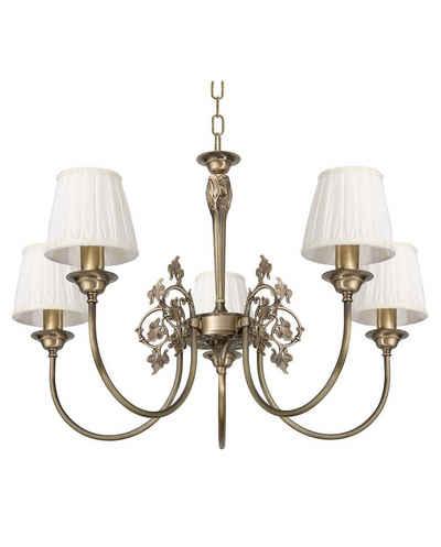 Licht-Erlebnisse Kronleuchter »SIMONA«, Pendelleuchte aus Messing Jugendstil E14 Wohnzimmer Esszimmer