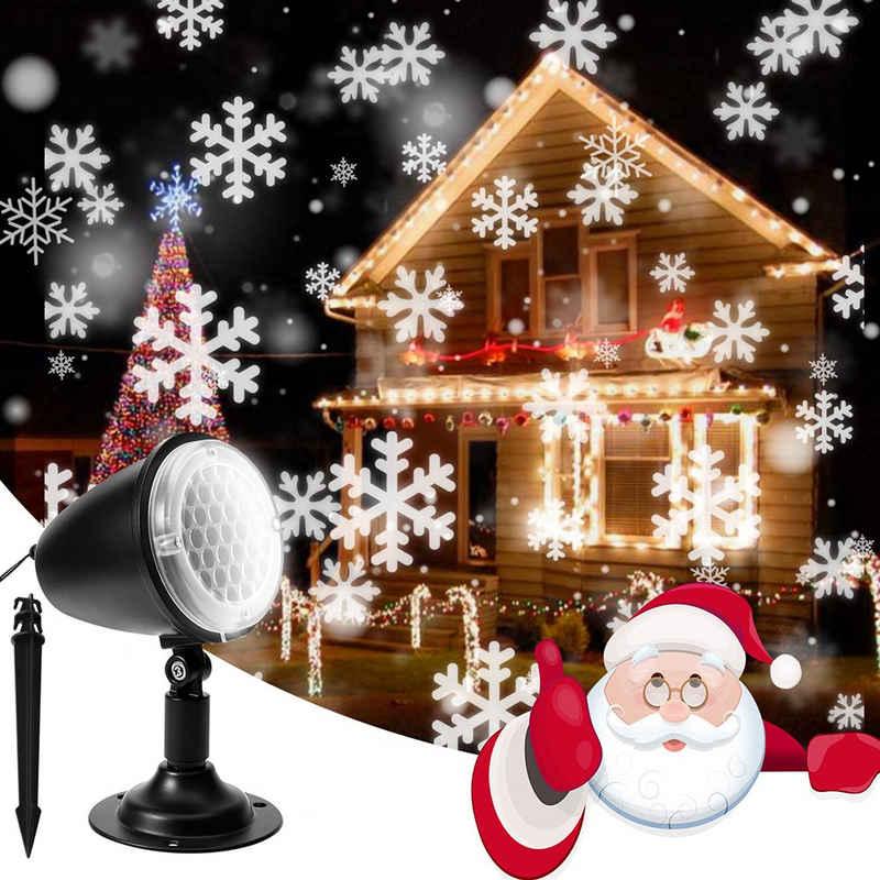 Rosnek Lichterkette »LED-Projektor Lichter, Weihnachten Schneeflocke, Rotierende Schneefall, Outdoor-Landschaft dekorative Beleuchtung für Weihnachten Urlaub Party Hochzeit«