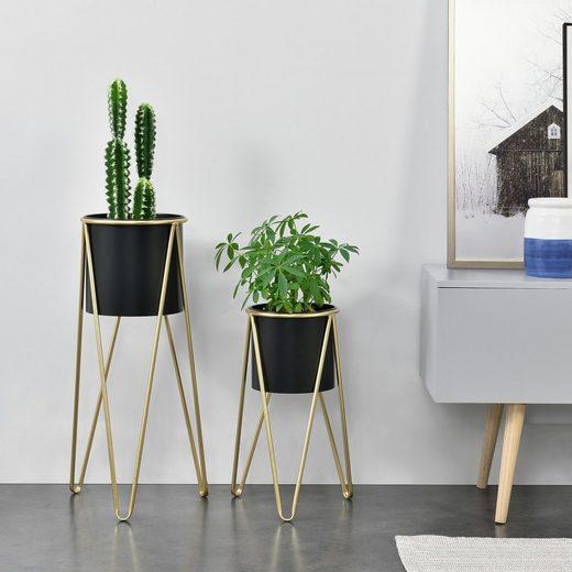 en.casa Blumenständer, »Hedera« Blumenkübel 2er Set Pflanzenständer Pflanztopf Metall goldfarben - schwarz