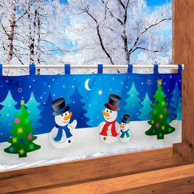 Scheibengardine »Schneemänner«, Delindo Lifestyle, Schlaufen (1 Stück), mit Schlaufenaufhängung, für die Küche, mit LED-Beleuchtung