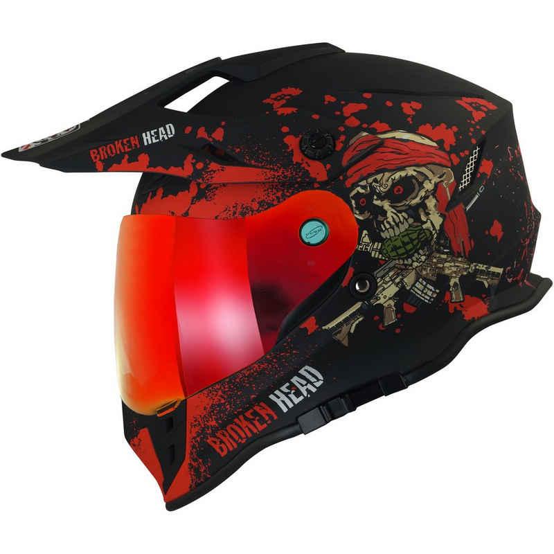 Broken Head Motorradhelm »Jack S. VX2 Rot« (mit klarem und rot verspiegeltem Visier), inklusive Sonnenblende und 2 Visieren