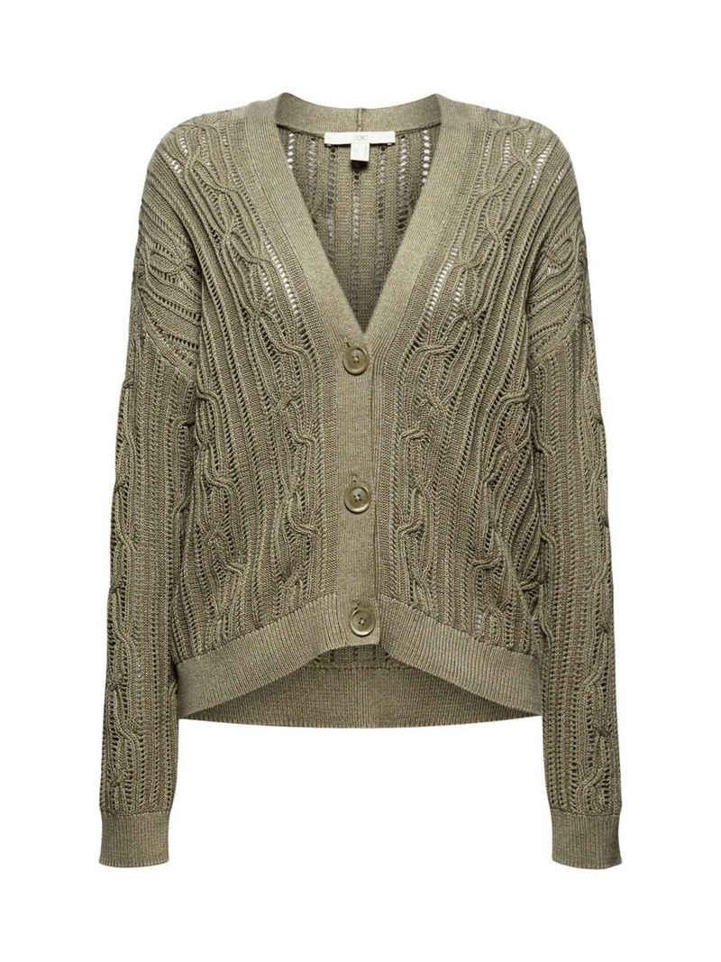 edc by Esprit Strickjacke »Cardigan mit Lochmuster, 100% Organic Cotton« (1-tlg)