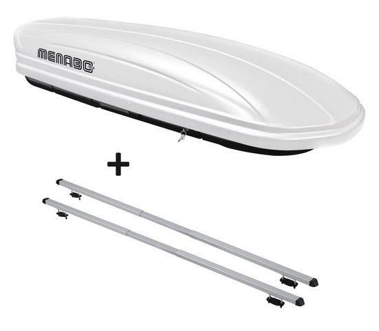VDP Fahrradträger, Dachbox VDPMAA320 320 Liter abschließbar weiß + Dachträger RAPID kompatibel mit Kia Clarus (5Türer) 95-01