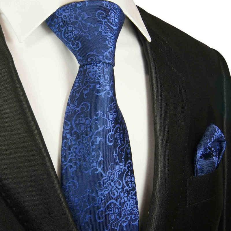Paul Malone Krawatte »Herren Seidenkrawatte mit Tuch modern barock 100% Seide« (Set, 2-St., Krawatte mit Einstecktuch) Breit (8cm), royal blau 2050