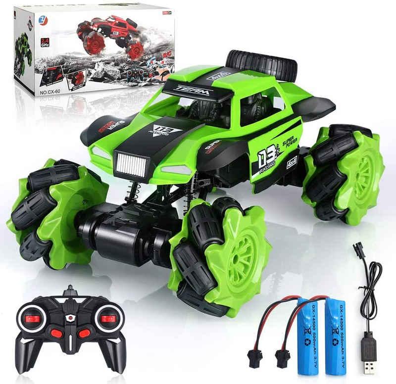 IVSO RC-Monstertruck »RC-Monstertruck,Ferngesteuertes Auto, 4WD Road Stunt RC-Autos 2.4 GHz,«, RC-Trucks im Maßstab 1:16 mit 2 Batterien im 360 ° -Dreh, elektrisches Spielzeug-RC-Auto für Jungen und Mädchen,grün