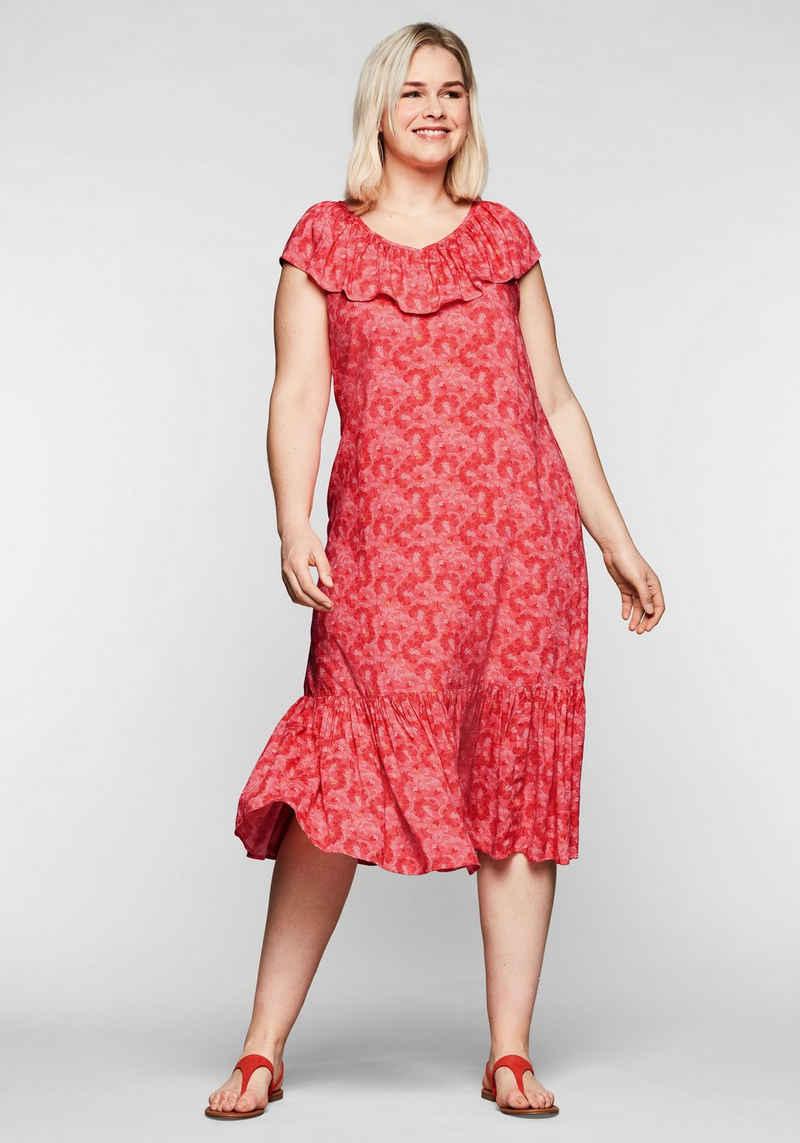 Sheego Sommerkleid mit Volants an Ausschnitt und Saum