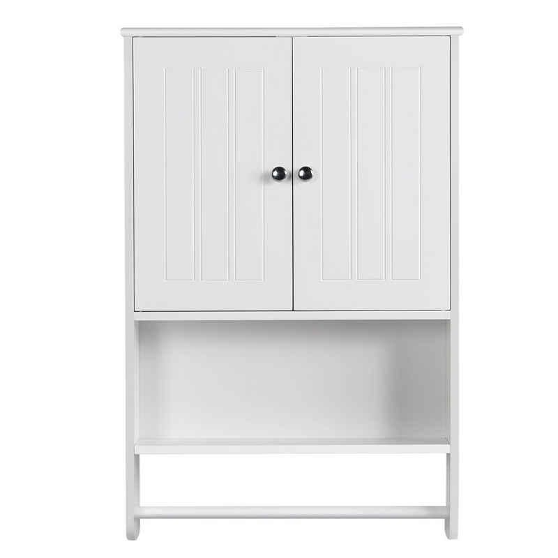 Yaheetech Hängeschrank Wandschrank Badschrank Küchenschrank Regal Aufbewahrung mit Tür und Einlegeboden weiß LBH: 48,5 x 14 x 73 cm
