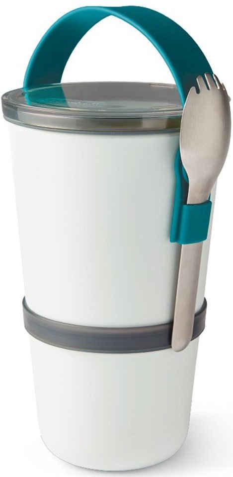 black+blum Lunchbox, Kunststoff, (Set, 1-tlg), 2-in-1, mit Tragegurt und Göffel (Gabel-Löffel-Kombination), 900 ml