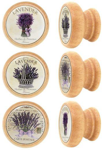 Lashuma Möbelgriff »Lavendel« (Set, 6-St), Möbelgriffe aus Holz, rund, Motivdruck
