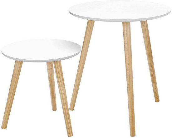 VASAGLE Beistelltisch »LET07WN«, Beistelltisch-Set rund, Sofatische, Couchtische, weiß