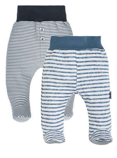 Makoma Schlupfhose »Baby Hose mit Fuß Strampelhose für Jungen & Mädchen Neutral Schwarz/Grau« (Set, 2-tlg., 2er-Pack) 100% Baumwolle