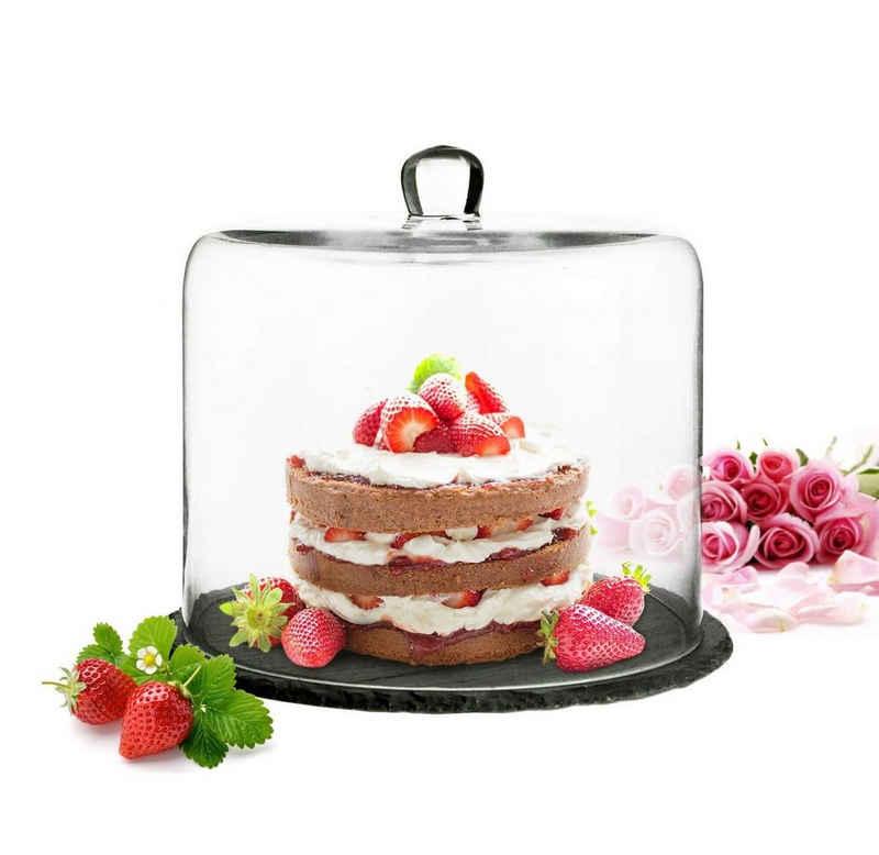 Sendez Tortenglocke »Glasglocke auf Schieferplatte 28x25cm Kuchenglocke Käseglocke Tortenplatte Haube«