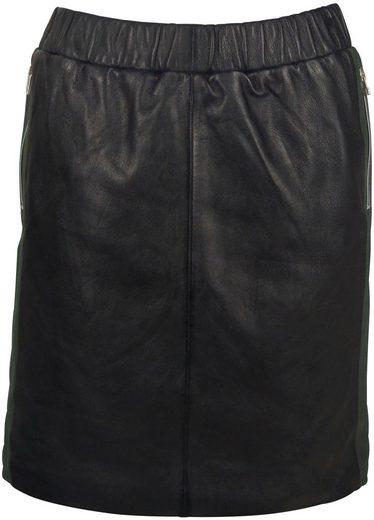 Gipsy Lederrock mit Zippertaschen & zweifarbigem Seitenstreifen