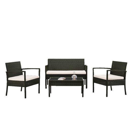 HTI-Line Sitzgruppe »Terrassenmöbel Palma«, (2x Stühle, 1x Tisch, 1x 2-Sitzer, inkl. Auflagen, 4-tlg), Terrassenmöbel
