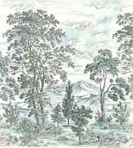 Komar Fototapete »Vliestapete Highland Trees«, glatt, bedruckt, geblümt, floral, realistisch, 250 x 280 cm
