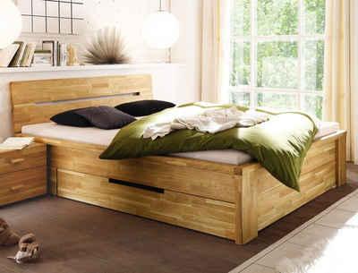 expendio Stauraumbett »Caspar«, Schubkastenbett 200x200cm hochwertiges Massivholzbett aus Eiche geölt mit 2 Schubladen