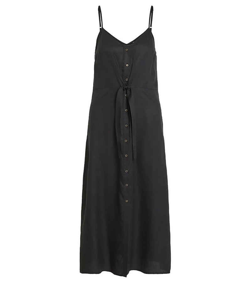 Vila Maxikleid »VILA Maxi-Kleid locker fallendes Damen Freizeit-Kleid mit Knopfleiste Sommer-Kleid Schwarz«