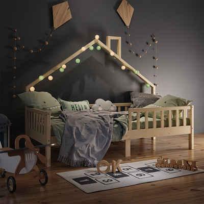 VitaliSpa® Hausbett »Kinderbett Spielbett Noemi 90x200cm natur Rausfallschutz«