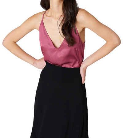 NA-KD Shirttop »NA-KD Racerback-Top glänzendes Damen Top in Satin-Optik Party-Top Pink«