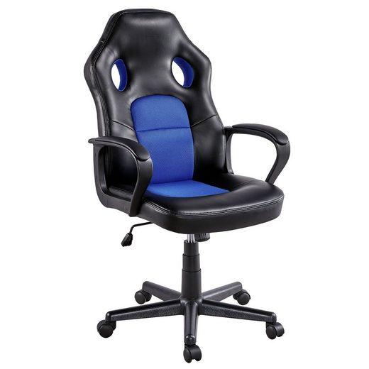 Yaheetech Chefsessel, Gaming Stuhl Schreibtischstuhl Bürostuhl Ergonomisch, gepolsterte Armlehnen, Wippfunktion, belastbar bis 150 kg, fürs Büro, Arbeitszimmer