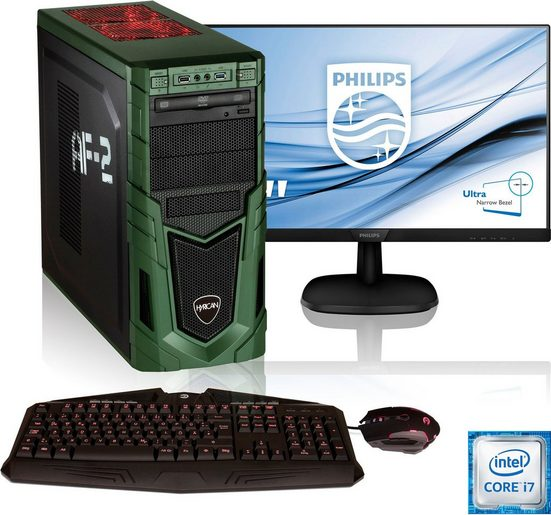 Hyrican »Military Gaming 6458« PC-Komplettsystem (27 Zoll, Intel Core i7, GTX 1650 Ti, 16 GB RAM, 1000 GB HDD, 480 GB SSD, inkl. Office-Anwendersoftware Microsoft 365 Single im Wert von 69 Euro)
