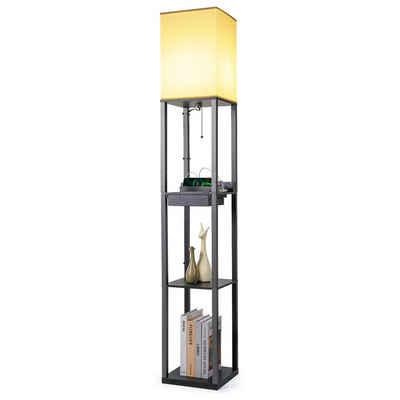 Tomons LED Stehlampe »Stehleuchte mit Holzregal, mit 2 USB Anschlüsse, E27 Glühbirne Enthalten, Retro Stehlampe Holz Schwarz für Wohnzimmer, Schlafzimmer und Büro«