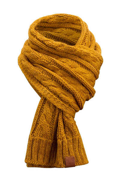 Manufaktur13 Strickschal »Rough Knit Scarf - Strickschal/ Langschal, gestrickt mit Echt-Leder Veredelung«