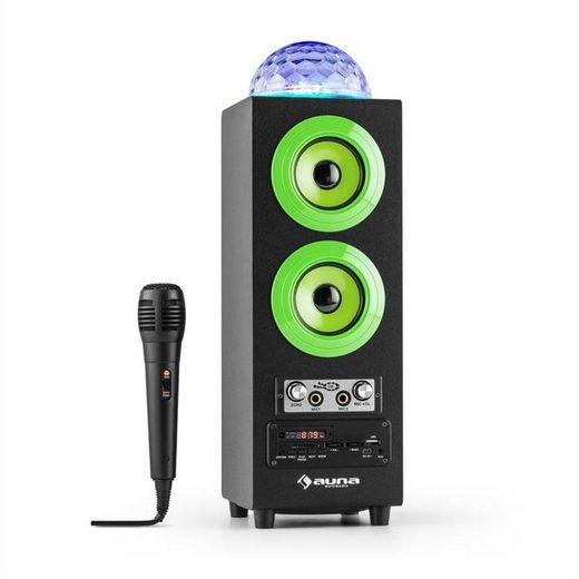 Auna DiscoStar Green portabler 2.1-Bluetooth-Lautsprecher USB Akku LED Mikro Bluetooth-Speaker