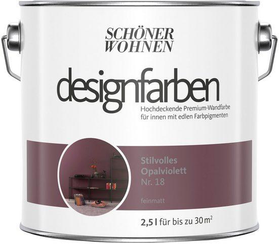 SCHÖNER WOHNEN-Kollektion Wand- und Deckenfarbe »Designfarben«, Stilvolles Opalviolett Nr. 18, feinmatt 2,5 l