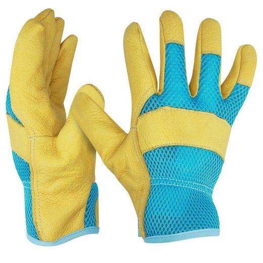 Navaris Lederhandschuhe 1 Paar XL Gartenhandschuhe aus Leder - für Damen und Herren - Robuste Arbeitshandschuhe Handschuhe für Garten Werkstatt Baustelle