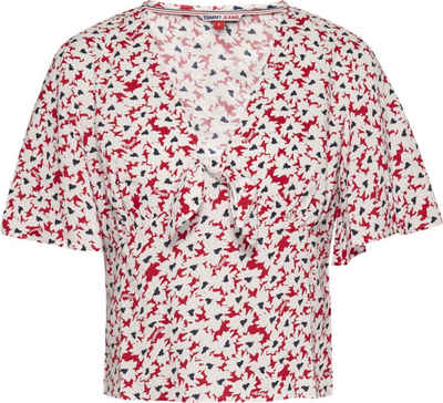 Tommy Jeans Kurzarmbluse »TJW Printed Knot Top« mit allover modischem Blumenprint