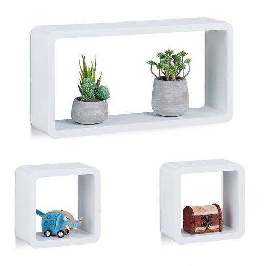 relaxdays Hängeregal »Schwebende Cube Regale 3er Set«
