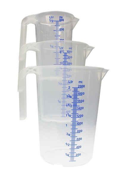 BigDean Fetttrennkanne »Set − 3 verschiedene Größen − bruchsicher, temperaturbeständig, farbige Skala transparent & blau − aus Polypropylen PP lebensmittelecht«