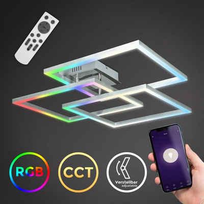 B.K.Licht Deckenleuchte »BKL1320«, WiFi FRAME Deckenlampe smart, 69x69 cm, RGB, CCT Farbtemperatursteuerung (3000-6500K), dimmbar, 48W, 4800lm, App, Fernbedienung, Sprachsteuerung, iOS & Android