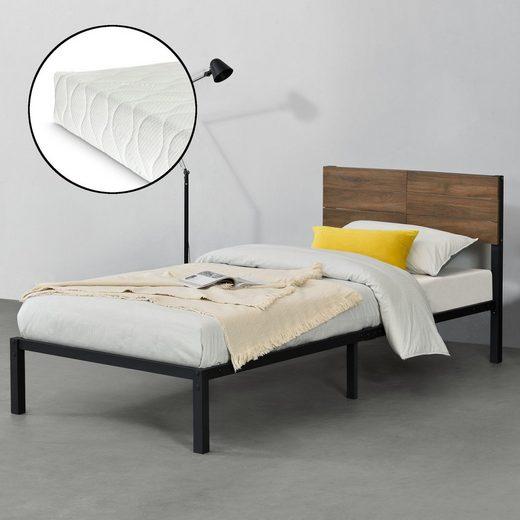 en.casa Metallbett, »Lausanne« Bettgestell Einzelbett mit Kaltschaummatratze in verschiedenen Größen