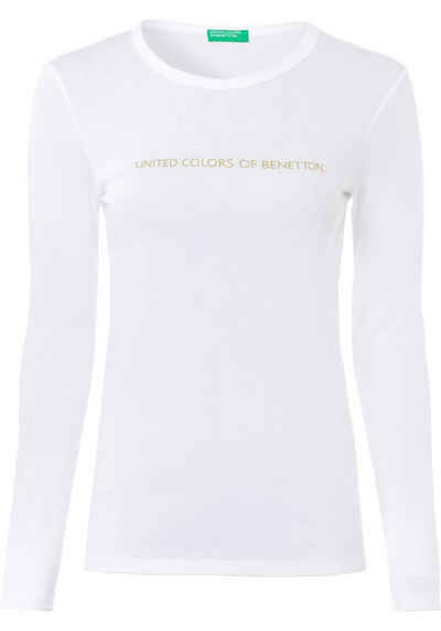 United Colors of Benetton Langarmshirt mit silber- oder goldfarbenem Glitzer-Labelprint