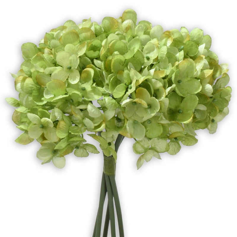 Kunstblume »Hortensien Kunstblumen 5 Stk im Bund 25 cm grün« Hortensien, matches21 HOME & HOBBY, Höhe 25 cm, Indoor