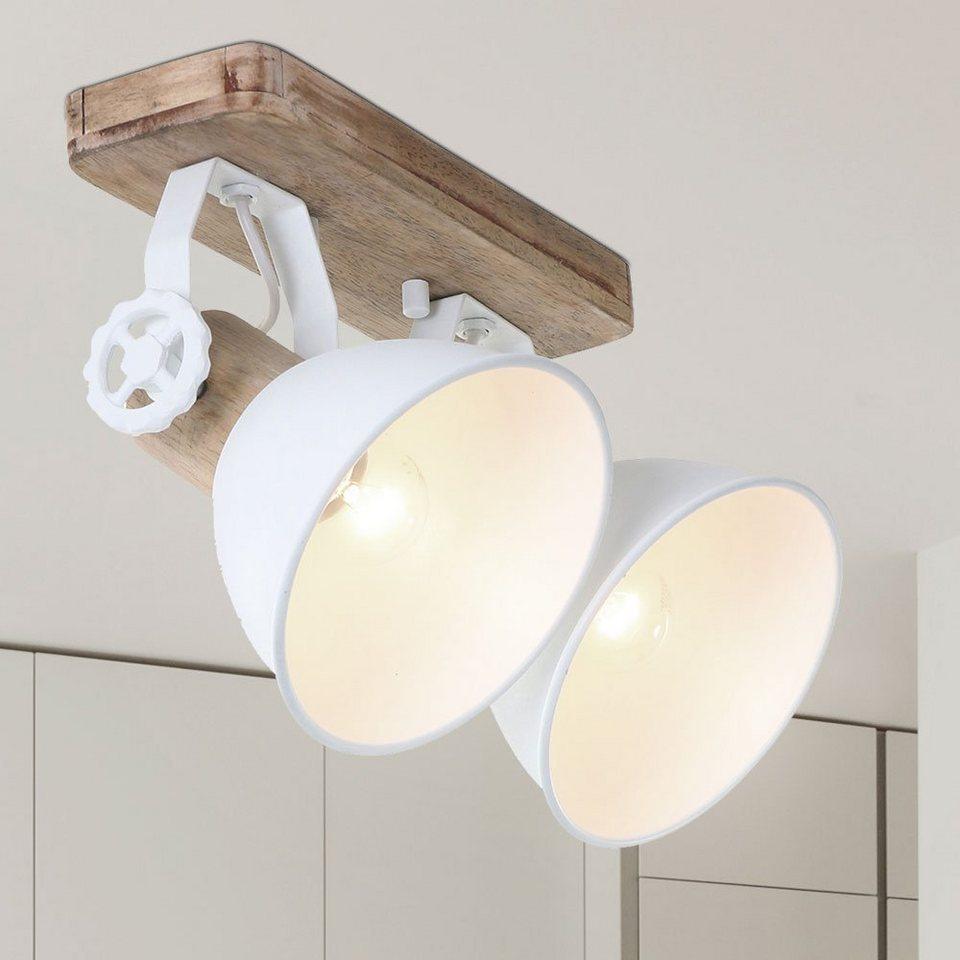 etc shop LED Deckenspot, VINTAGE Decken Lampe Filament Ess Zimmer Strahler  Holz Beleuchtung schwenkbar weiß im Set inkl. LED Leuchtmittel online ...